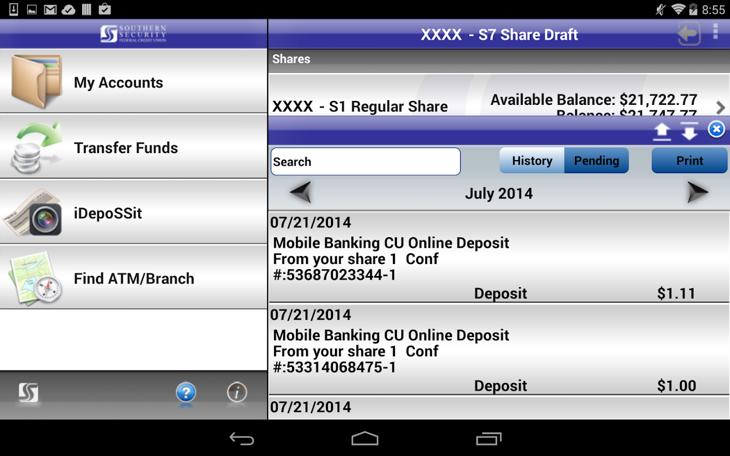 SSFCU Tablet Mobile Banking - screenshot