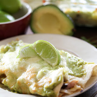Honey Lime Chicken Enchiladas with Avocado Cream Sauce