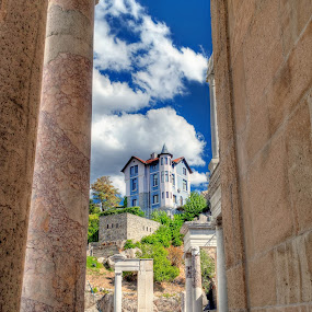 From the Ancient Theatre by Petar Shipchanov - Buildings & Architecture Public & Historical ( plovdiv, amphytheatre, ancient, blue, theatre, blue house, theater, house, roman, ancient theatre, bulgaria )