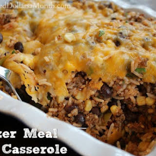 Ground Beef Freezer Meal – Taco Casserole.