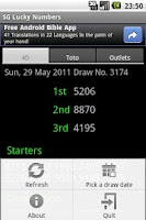 Screenshot of SG Lucky Numbers