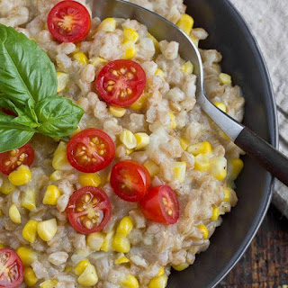 Farro Risotto with Corn and Tomatoes.