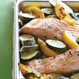 Roasted Salmon with Zucchini, Lemon, and Dill.