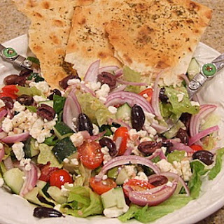 Greek Salad w/ Seasoned Flatbread