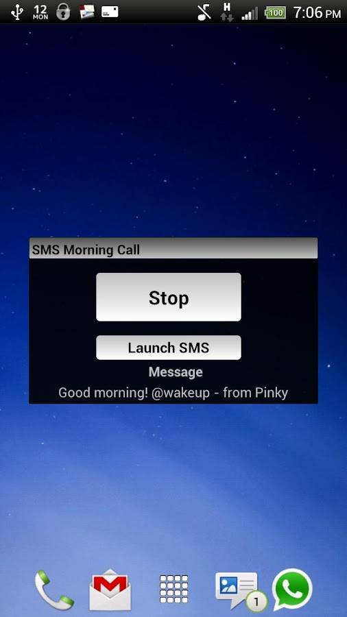 SMS Morning Call - screenshot