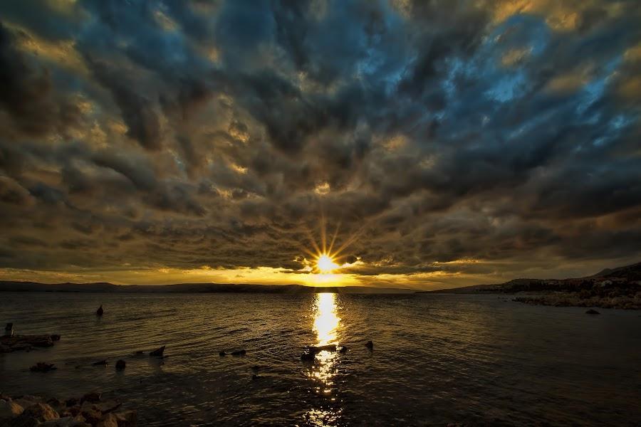 Magical sunset by Nick-Nikola Mraovic - Landscapes Sunsets & Sunrises ( clouds, adriatic, colorful, sunset, croatia, sea, karlobag, seascape )