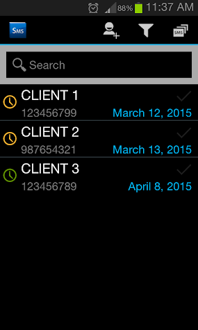 Clients SMS Reminder Screenshot