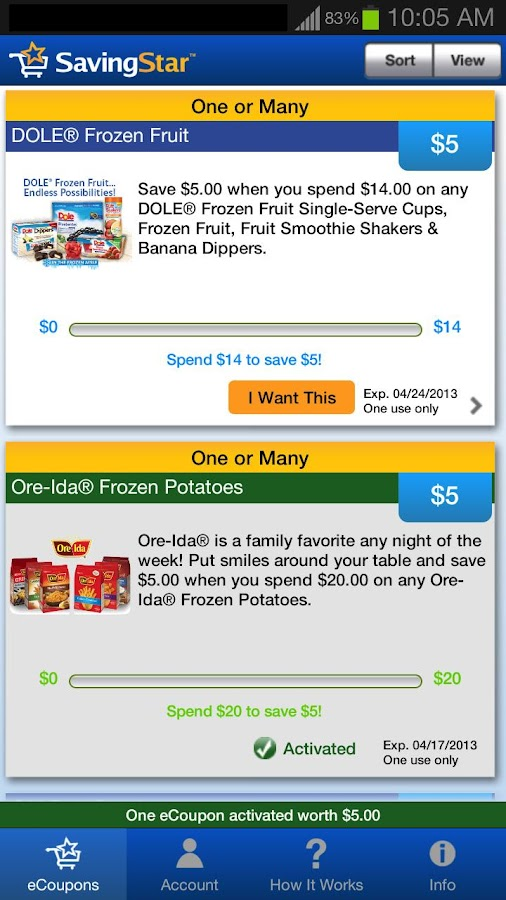 SavingStar Grocery eCoupons - screenshot