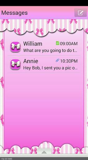 PinkBows GO SMS THEME