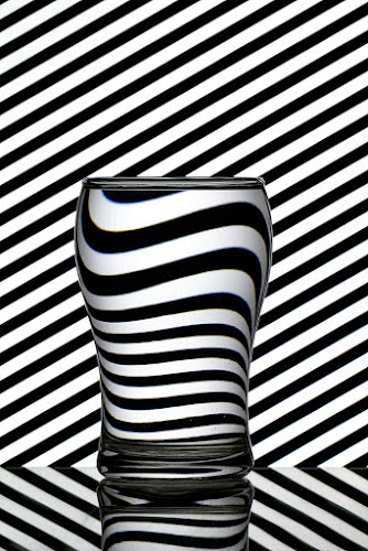 Black and White by Ramakant Sharda - Black & White Abstract ( mirror, white, glass, refraction, reflaction, black )