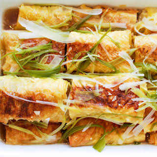Chinese Bean Curd Rolls Stuffed With Pork, Mushroom, and Ginger.