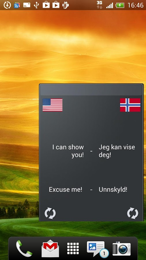 Learn Norwegian widget - screenshot