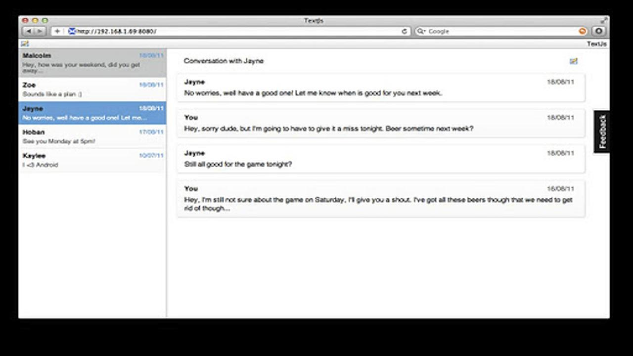 SMS↔Chrome (like Mighty Text) - screenshot