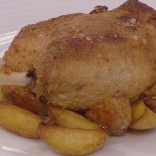 Confit Norfolk duck with apple sauce