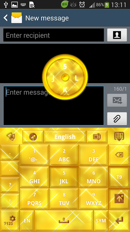 GO Keyboard Gold Glow Theme - screenshot