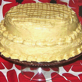 Peanut Butter Cake with Peanut Butter Cream Cheese Frosting.