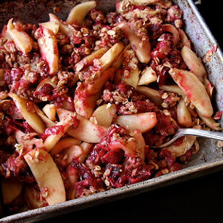 Vegan Apple Cranberry Oatmeal Bake.