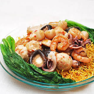 Crispy Pan-Fried Noodle Cakes With Seafood.