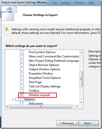 Visual Studio Layout Settings