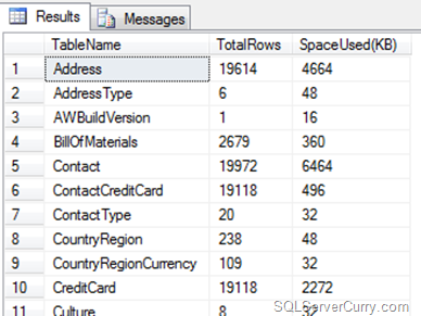 SQL Server Count Rows and Size
