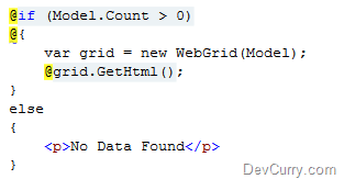DevCurry: ASP NET MVC 3: Display Empty Data Text in WebGrid
