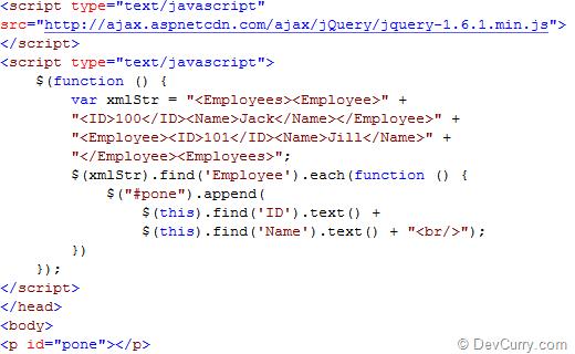 DevCurry: Parsing XML using jQuery