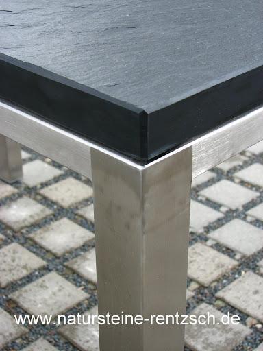 tisch 120 70 schieferplatte mit tischgestell in edelstahl gartentisch naturstein ebay. Black Bedroom Furniture Sets. Home Design Ideas