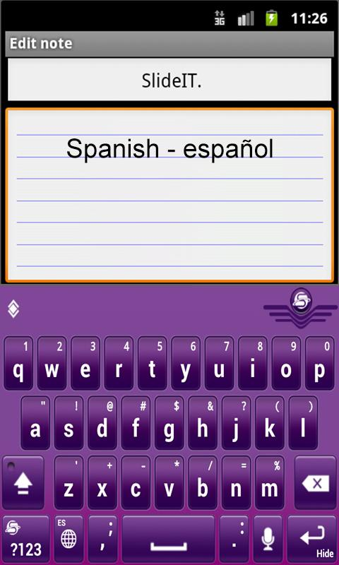 SlideIT Spanish Pack - screenshot