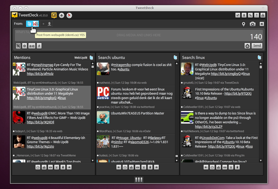 How To Use TweetDeck With Identi ca [w/ Adobe Air Ubuntu