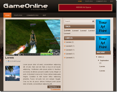 Game Online Blogger Template