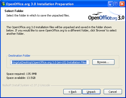Screenshot: How to install OpenOffice.org in a network installation