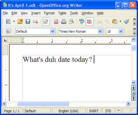 Screenshot: OpenOffice.org Writer: April Fools' prank showing autocorrect change