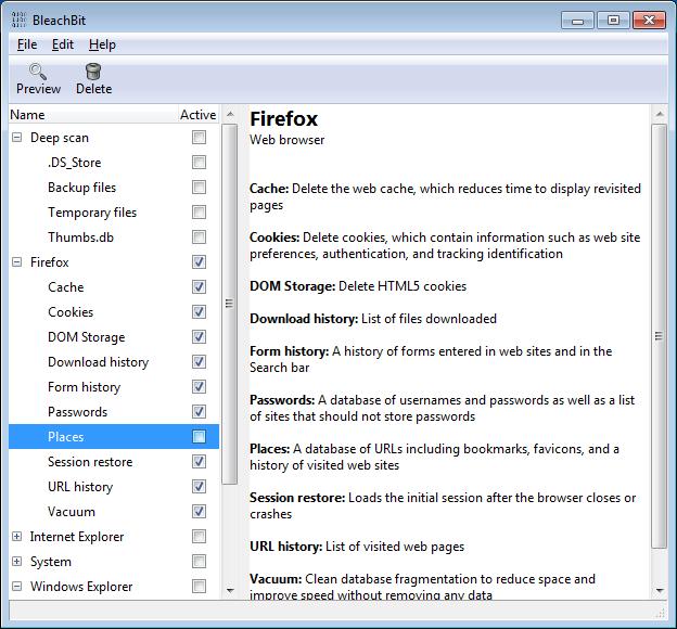 BleachBit screenshot