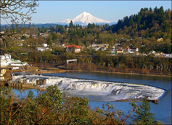 Willamette Falls and Mt. Hood