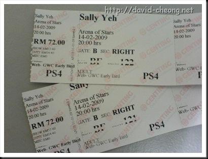 Sally yap concert ticket