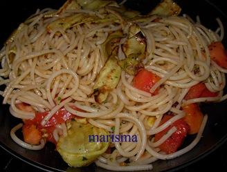 espaguetis con calabacin rehogados