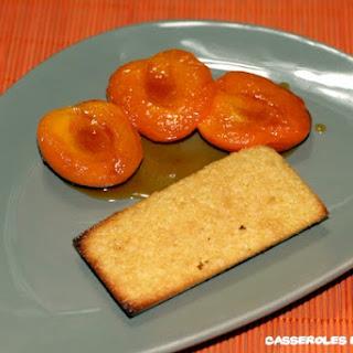 "Honey Apricots with  ""Financier"" Cookies."