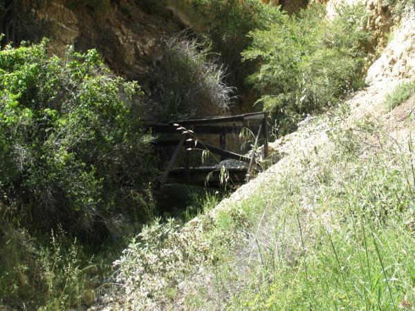 A decrepid footbridge.
