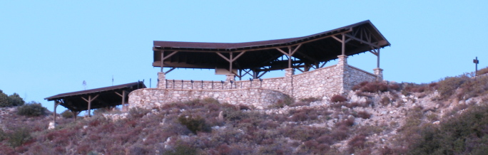 The pavillion up on the ridge from closer than before.