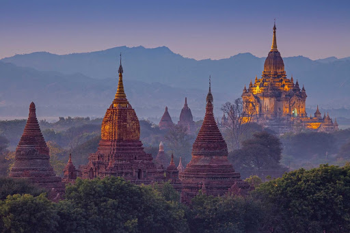 Bagan-Myanmar - Like a vision from another time, the ancient city of Bagan now beckons cruise visitors. Myanmar (formerly Burma) opened up to U.S. investment in 2014, and the 56-passenger AmaPura river cruise ship began sailings there in November 2014.
