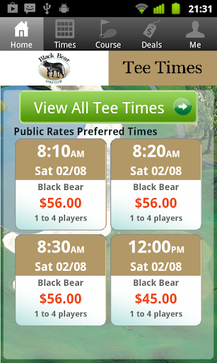 Black Bear Golf Tee Times