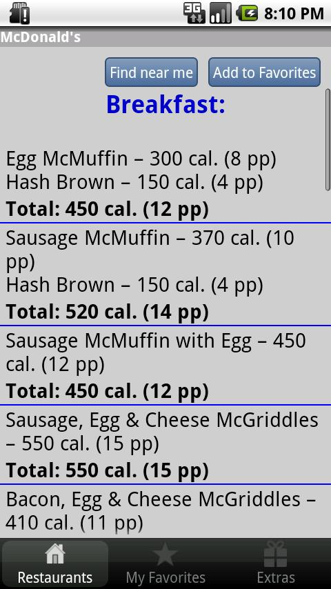 Under 600 Calories : Fast Food - screenshot