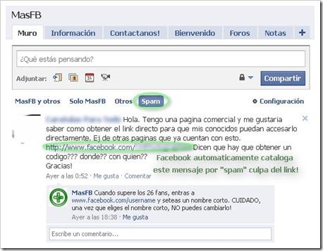 Seccion SPAM Facebook