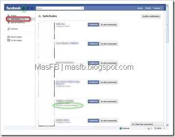 Mensaje Personal en Solicitudes Facebook