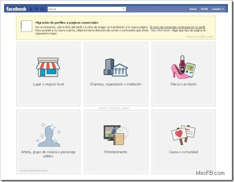 Migrar de Perfil a Pagina Facebook | MasFB.com