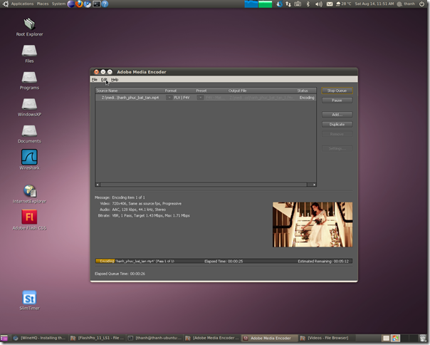Adobe Media Encoder CS5 on Ubuntu