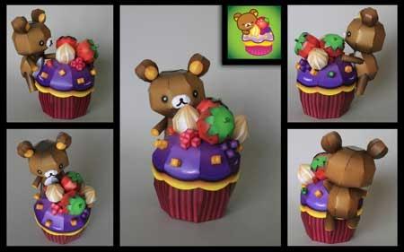 Relax Bear Rilakkuma Happy Cupcake Papercraft