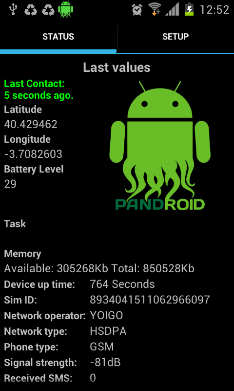 Pandora FMS Agent (tablets)- screenshot