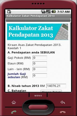 Kalkulator Zakat Pendapatan - screenshot
