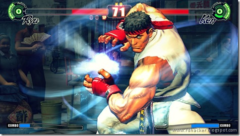Ryu charges up a fireball against an opponent